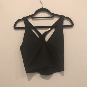 Urban Outfitters Black Cropped V-Neck Top